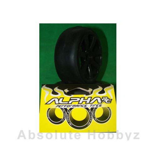 Alpha RC Pre-Mounted Slick Tyres 1/8 Rally Game - Qual Y6 Compound Black + Wheel