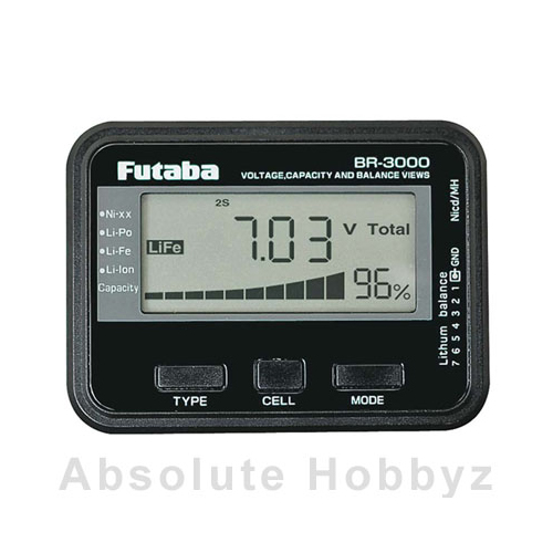Futaba BR3000 Battery Checker Liion Lipo LiFe NiCd NiMH
