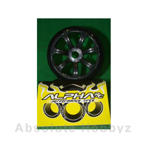 Alpha RC Pre-Mounted Slick Tyres 1/8 Rally Game - Qualy 5 Compound Black + Wheels (Medium)