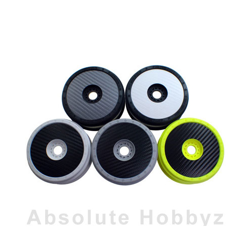 DE Racing 1/8 Buggy Wheel Sticker Disk (Black Carbon Fiber) (8pcs)