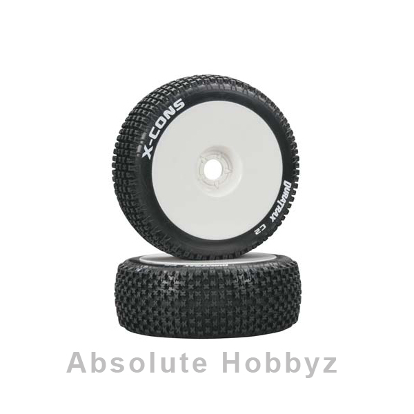DuraTrax Pre-Mounted X-Cons 1/8 Buggy Tires (White) (2)