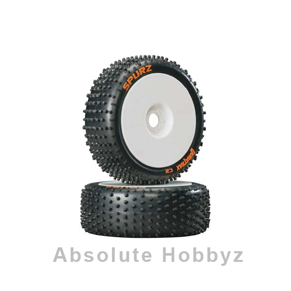 DuraTrax Pre-Mounted Spurz 1/8 Buggy Tires (White) (2)