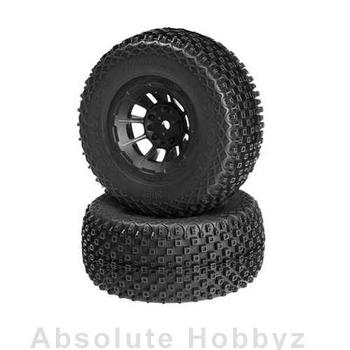 JConcepts Choppers Mounted SC Tires w/Black Hazard Wheel (Blue) (2) (SC10)