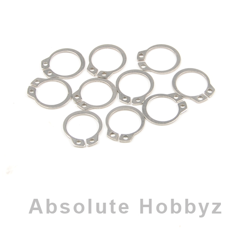 RC Screwz Stainless 14mm External Retaining Ring - Qty 10