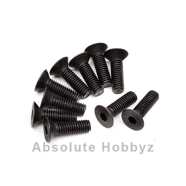 HB Racing 3x10mm Flat Head Hex Screw (10)