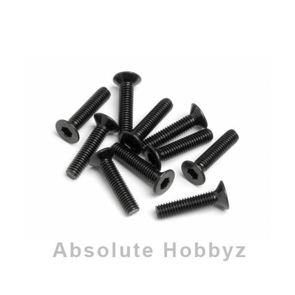 HB Racing 2.5x12mm Flat Head Hex Screw (10)