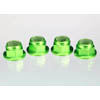 Traxxas 4mm Aluminum Flanged Serrated Nuts (Green) (4)