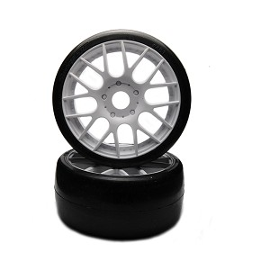Sweep 1/8 GT Belted Slick EXP 50deg Mounted Stage 2 Foam GT8 White Spoke (1pr)