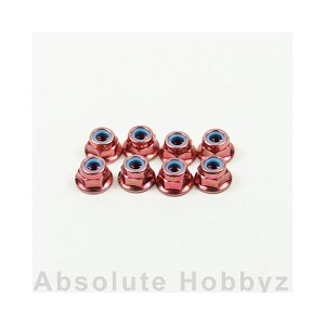 Kyosho Nut(M4x5.6)Flanged Nylon(Steel/Red/8pcs)