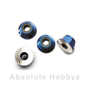 Traxxas Nuts, Aluminum Flanged Serrated (4mm) (Blue-Anodized) (4)