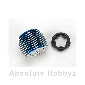Traxxas Cooling head, PowerTune Machined Aluminum Blue Anodized