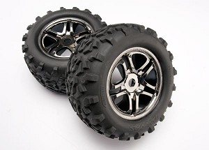 "Traxxas Maxx Tires 3.8"" Mounted Tires w/Split Spoke Wheels (Black) (2)"